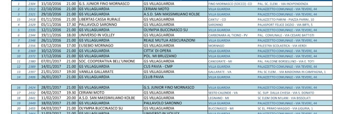 Calendario Volley Maschile.Calendario Partite Volley Serie D G S Villa Guardia