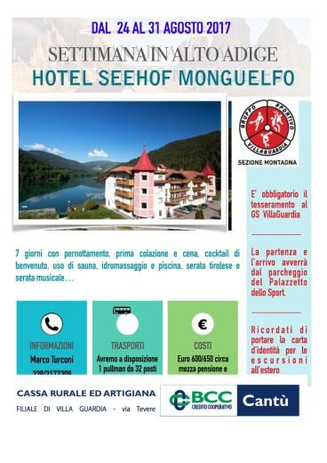 Vacanza in Alto Adige dal 24 agosto al 31 agosto 20171